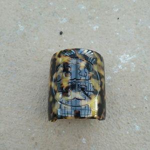 Tory Burch cuff logo leopard bracelet